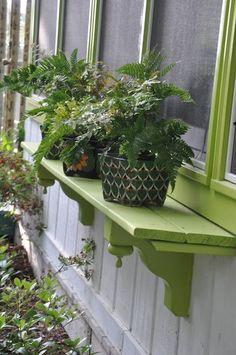Love these outdoor shelves for plants! Jane Coslick Cottages : A Little Sunday Fun at Tween Waters Cottage Window Shelves, Window Ledge, Plant Shelves, Window Boxes, Outdoor Projects, Garden Projects, Outdoor Decor, Garden Art, Garden Design