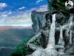 #art #fantasy #cakkocem #wallpaper #landscape #waterfall #cliff #rocks #sculpture #statue #livingoutdoor #photography #photomanipulation #manipulation #... - Cak Kocem fantasy waterfall - Google+