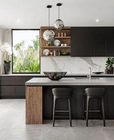 18 Cool Modern Wooden Kitchen Design - Home Design - Info Virals - New Fashion and Home Design around the World Home Kitchens, Contemporary Kitchen, Kitchen Remodel, Stylish Kitchen, New Kitchen, Home Decor Kitchen, Kitchen Interior, Luxury Kitchen Design, Modern Kitchen Design