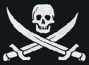 The Pirate flag of Calico Jack Rackham included the picture of a skull with crossed cutlasses on a black background.