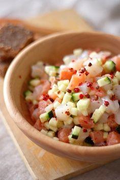 Tartare de courgette, noix de Saint-Jacques et saumon