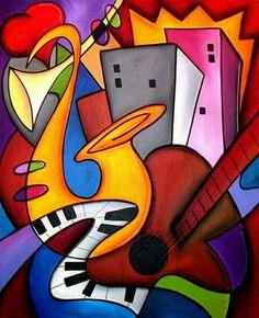 Abstract painting Modern pop Art original Seabreeze Jazz Fest 2019 Canvas Print by Fidostudio - Breeze Pop Art Collage, Modern Pop Art, Cubism Art, Jazz Art, Canvas Art, Canvas Prints, Arte Popular, Art Moderne, African Art