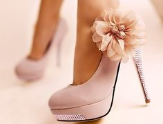 flower and rhinestones on upcycled shoes