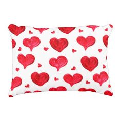 Watercolor hearts pattern Accent Pillow - Saint Valentine's Day gift idea couple love girlfriend boyfriend design