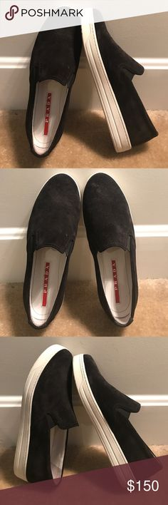 PRADA Black Suede Slip-Ons PRADA Black Suede slip-on Sneakers. Excellent condition, worn only a few times. Fit like a US 8.5 Prada Shoes Sneakers