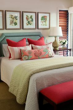 Master Bedroom featuring a custom-made upholstered bedhead, custom-made cushions and coordinating artwork.