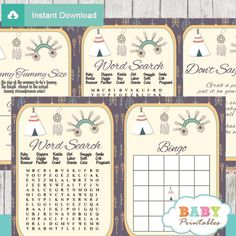 Native American Baby Shower Games, Tribal Arrows Pattern. #babyprintables