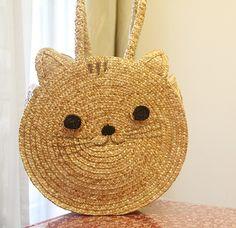 Cat straw bag women by fingerdance on Etsy, $36.00