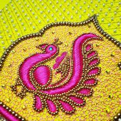 No photo description available. Cutwork Blouse Designs, Wedding Saree Blouse Designs, Simple Blouse Designs, Hand Embroidery Dress, Embroidery Motifs, Beaded Embroidery, Zardozi Embroidery, Peacock Embroidery Designs, Simple Embroidery Designs