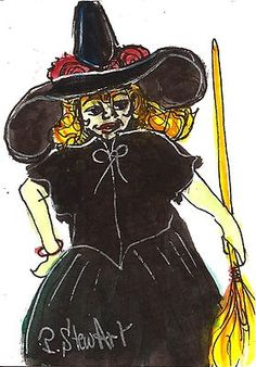 """ACEO """"Black Witch Costume"""" WC/Pen/Ink Halloween SFA Original Penny StewArt"""