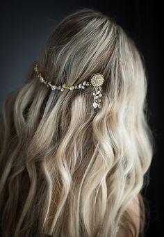 Gold Boho bridal hair chain Boho gold hair wrap by LottieDaDesigns