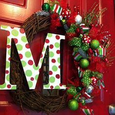 Initial Wreath- take a grapevine wreath and decorate with holiday picks. Then paint a wooden letter and attach with wire to the opposite side of your wreath. All of these supplies can be purchased at Hobby Lobby, Michaels, or Mer Rouge Wholesale. Homemade Christmas Wreaths, Diy Christmas Ornaments, Holiday Wreaths, Holiday Crafts, Christmas Decorations, Holiday Decor, Gold Ornaments, Burlap Christmas, Christmas Door
