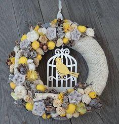 Spring Door Hanger Home decoration Handmade wreath Spring Baby Door Decorations, Seasonal Decor, Fall Decor, Decor Crafts, Diy And Crafts, Spring Door, Flower Ball, Egg Art, Handmade Home Decor