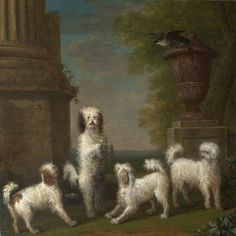 Dancing Dogs: 'Lusette', 'Madore', 'Rosette' and 'Moucheby'  by John Wootton       Date painted: 1759