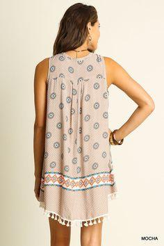 @knittedbelle #knittedbelle Sleeveless Key Hole Print Dress