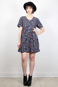 Vintage Nautical Dress Mini Dress 1990s Dress Babydoll Dress Navy Blue Sailor Novelty Print Dress 90s Dress Preppy Shirtdress M Medium L by ShopTwitchVintage #vintage #etsy #90s #1990s #dress #minidress #babydoll #babydolldress #nautical #grunge #softgrunge