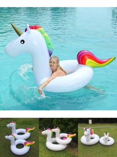 [Visit to Buy] Summer Hot Unicorn Pool Float with pump Floating Ring Raft Inflatable Water Toys Outdoor Party Supplies Beach Toy Air Mattress #Advertisement