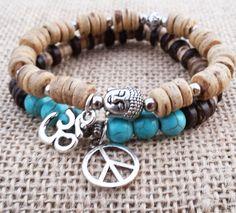 Men's Buddha Bracelet Stack Wood Mala Boho Men by BohemianChicbead