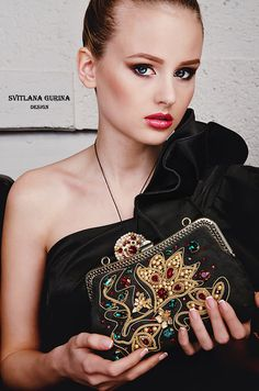 Evening handbag, suede handbag,Beaded IPhone Pouch black with embroidered with Swarovski crystals, spun gold Evening bag clutch clasp bag The