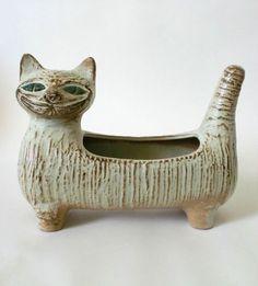 60s Umtopf Keramik Katze cache-pot planter ceramic cat pottery Lisa Larsson era