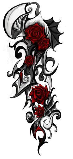 ... de tatouage avec un motif de rose rouge au style tribal - o.k. U X