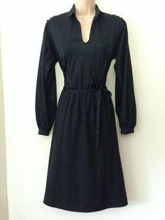 Vintage 80 s Parisian Black Heart Pattern Belted Long Sleeve Casual Dress 12 £20.99