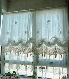 Shabby Chic Drawnwork Combined Hand Crochet White Balloon Curtains