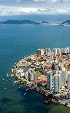 Ponta da Praia, the start of Santos' beach and the entrance of Santos Port, the largest in South America. São Paulo - Brazil