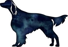 Irish Red and White Setter Dog Breed Black Watercolor Silhouette by TriPodDogDesign
