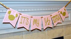 Minnie Mouse It's my 1/2 birthday pink and gold banner, Minnie Mouse half birthday, Half birthday banner, Glitter banner, 6 month photo prop by CelebrateCustomEvent on Etsy