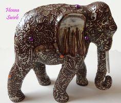 Elephant Sculpture Henna Art Henna on ceramic by mehndiart09, $99.99
