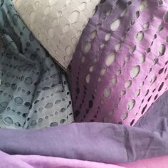 Ombré hand dyed textiles- cotton with cut out and cotton gauze, designed by Julanna Vine from J Vine Studio. Textile Prints, Textile Design, Textiles, Velvet Pillows, Designer Pillow, Bean Bag Chair, Vines, Studio, Spring