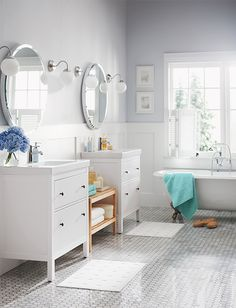 Create a more shareable bathroom with twin HEMNES/ODENSVIK vanities.
