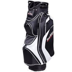 With an integrated cart strap loop these mens hot launch performance golf cart bags by Tour Edge also offer a waterproof velour-lined dry pocket to protect valuables