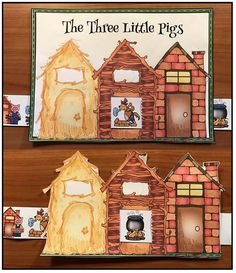 "Fairy Tales: Cute sequencing & retelling a story ""slider"" craft for ""The 3 Little Pigs"" fairy tale. Patterns come in color + black and white. :-)"