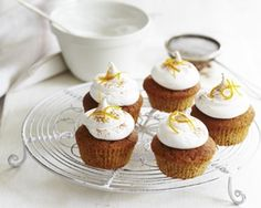 This zesty carrot cupcake recipe from Lisa Harris is topped with fun, fluffy marshmallow icing. Ingredients of Carrot cupcakes Carrot Cupcake Recipe, Cupcake Recipes, Cupcake Cakes, My Favorite Food, Favorite Recipes, Good Food Channel, Recipes With Marshmallows, Fairy Cakes, Yummy Cupcakes