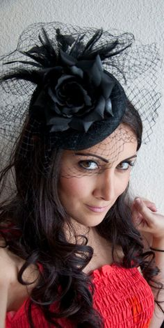 Elizabeth Black Rose Couture English Hat Sinamay Birdcage Fascinator Headband for Bridal, weddings, parties, derby, special occasions. $78.00, via Etsy.