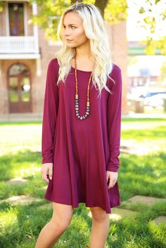 "Piko Trapeze Dress - Dark Maroon ,10% off w/ ""sratsouthrep"" at checkout & free shipping! www.shoplovejune.com"