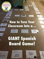 to turn your classroom into a GIANT Spanish board game - how fun!How to turn your classroom into a GIANT Spanish board game - how fun! Spanish Lesson Plans, Spanish Lessons, French Lessons, Learn Spanish, Spanish 1, Learn French, Spanish Pictures, Spanish Courses, Spanish Grammar