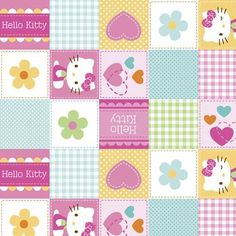 Nursery Fabric- Hello Kitty Hearts & Flowers Blocks