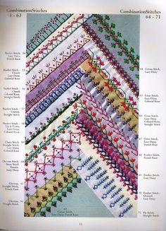 Combination stitches for crazy quilting.