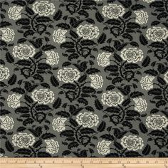 Liberty Of London Carnaby Jersey Knit Rosies Garden Grey/Black from @fabricdotcom  From the world famous Liberty Of London, this exquisite viscose jersey fabric is finely knitted, medium weight and ultra soft. This gorgeous fabric has a fluid drape and 50% four way stretch. It is so perfect for T-shirts, tops, dresses and skirts. Colors include white, grey and black.