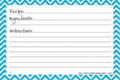 Printable Blank Recipe Card