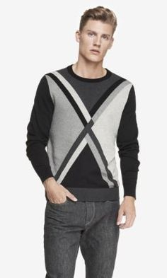 GEOMETRIC ARGYLE CREW NECK SWEATER from EXPRESS