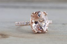 14k Rose Gold Elongated Oval Cut Pink Peach Morganite Diamond Engagement Promise Ring Rope Bead Vintage
