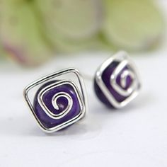 Amethyst post earrings spiral sterling silver by SueRunyonDesigns,
