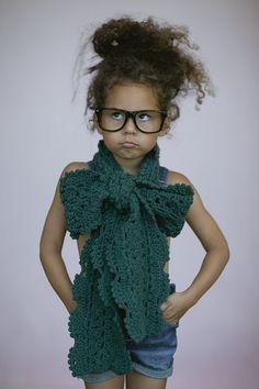 Little Girl's Bow Scarf Toddler CROCHET Boho by ThreeBirdNest, $38.00