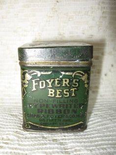 Foyer's Typewriter Ribbon Advertising Tin @ Vintage Touch $5.00