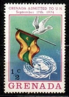grenada 1974 * bandeira * pombo * admissão .na onu