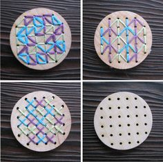 DIY Kids Craft Kit - Hand Embroidery Wood Brooch Pin